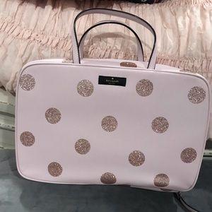 Kate Spade gold and pink polka dot makeup bag